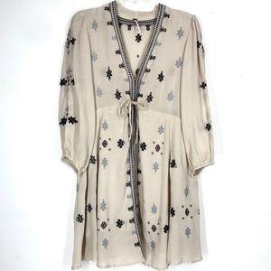 Free People cream embroidered dress sz M